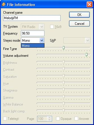 FM Radio Channel Settings In Winamp